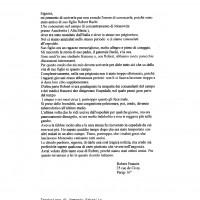 Traduzione della prima lettera inviata da Robert Frances (compagno di prigionia di Roberto Bachi) a Ines Bachi