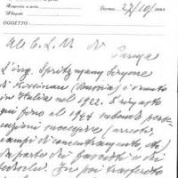 Prima pagina della deposizione di Giacomo Ferrari per Samuel Spritzman, ottobre 1945. Archivio istituto storico della Resistenza e dell'età contemporanea di Parma, Fondo privato Samuel Spritzman