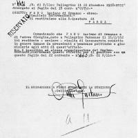 Rapporto dei carabinieri di Pellegrino Parmense, 22 dicembre 1938. Archivio Isrec Parma