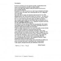 Traduzione della seconda lettera inviata da Robert Frances (compagno di prigionia di Roberto Bachi) a Ines Bachi