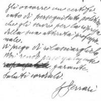 Lettera di Giacomo Ferrari, prefetto di Parma